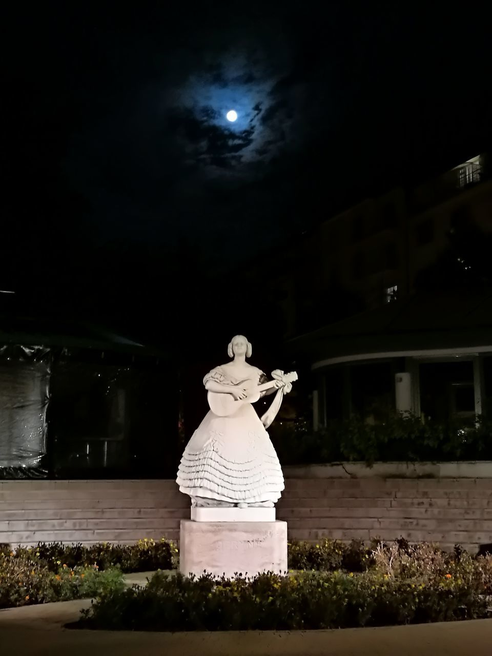 sculpture, art and craft, human representation, statue, representation, night, creativity, male likeness, plant, women, nature, architecture, female likeness, rear view, real people, built structure, craft, full length
