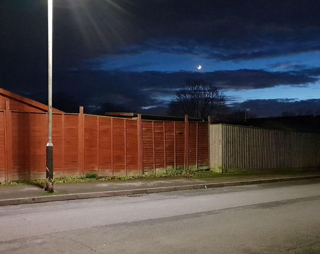 Outdoors Fence Night Cloud - Sky Sky Street Moon