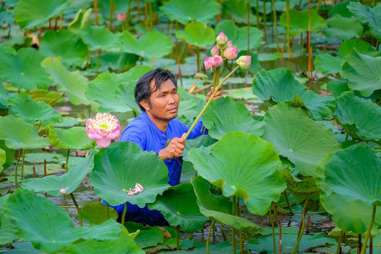 Man standing by flowering plants