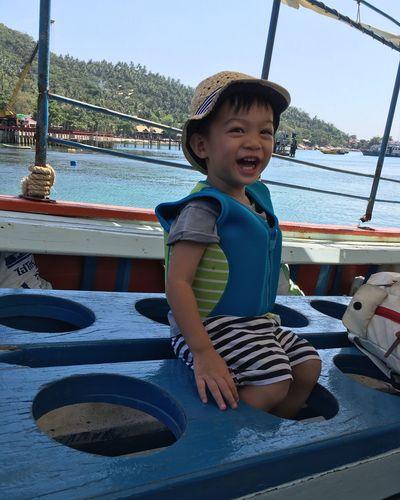 Holiday Boat Enjoying Life Smile NiceSmile Littleboy