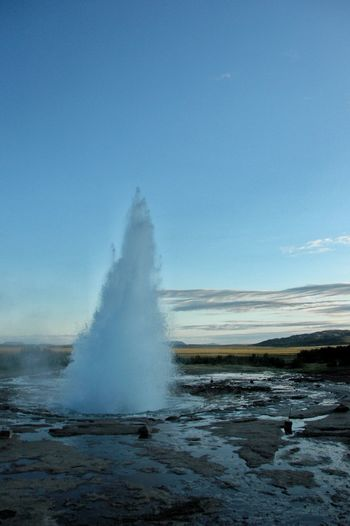 Power In Nature Motion RISK Blue Rough Erupting Sea Sky Landscape Geyser Heat Steam Boiling