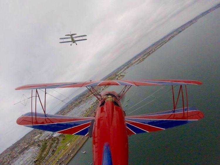 OVER SAN DIEGO SAN DIEGO SKYTOURS Skywriting Air Vehicle Bi Plane Dog Fighting Aeroplanes Sky Tours WwII Airplane