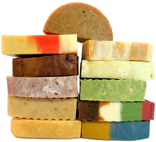 A selection of handmade soap I made. Handmade Soaps And Candles Close-up Colorful Day Freshness Handmade Soap Indoors  Indulgence Multi Colored No People Stack Temptation Variation White Background