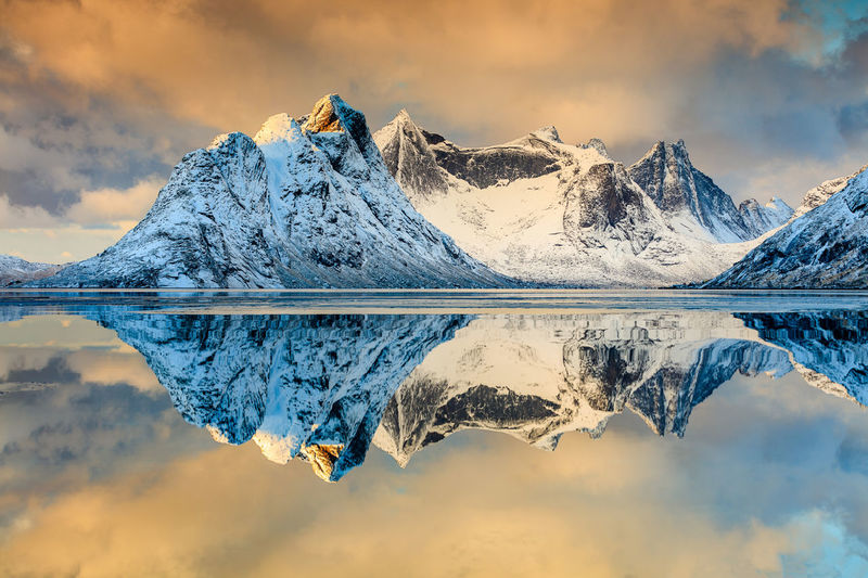 Mountain reflection Beauty In Nature Cloud Cloud - Sky Golden Hour Idyllic Lofoten Lofoten Islands Lofoten Norway Mountain Nature No People Norway Outdoors Reflection Scenics Sea Seascape Sky Sky And Clouds Tranquil Tranquil Scene Water My Year My View