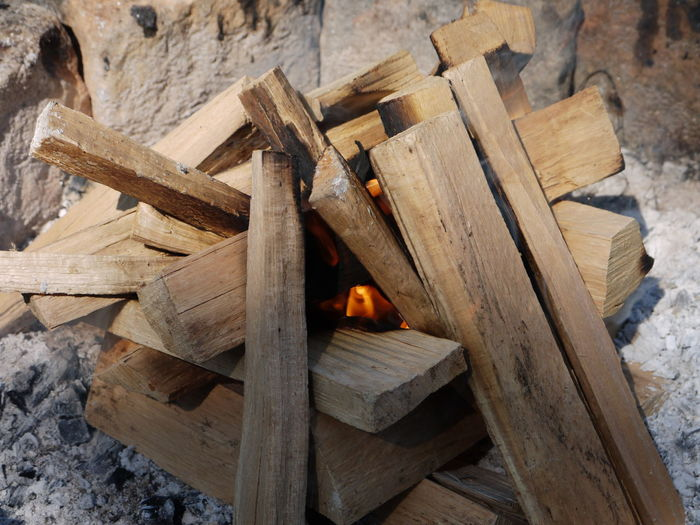 High angle view of wooden logs