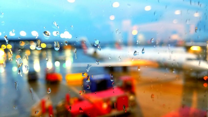 Drop Water Rain Window Close-up Rainy Season Weather RainDrop No People Airport Runway Wet Beauty Beauty In Ordinary Things Beautiful Sunset Beautiful Nature Awe Airplane Travel