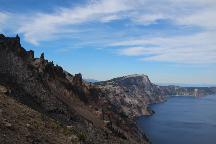 Scenic View Of Cliff By Crater Lake Against Sky
