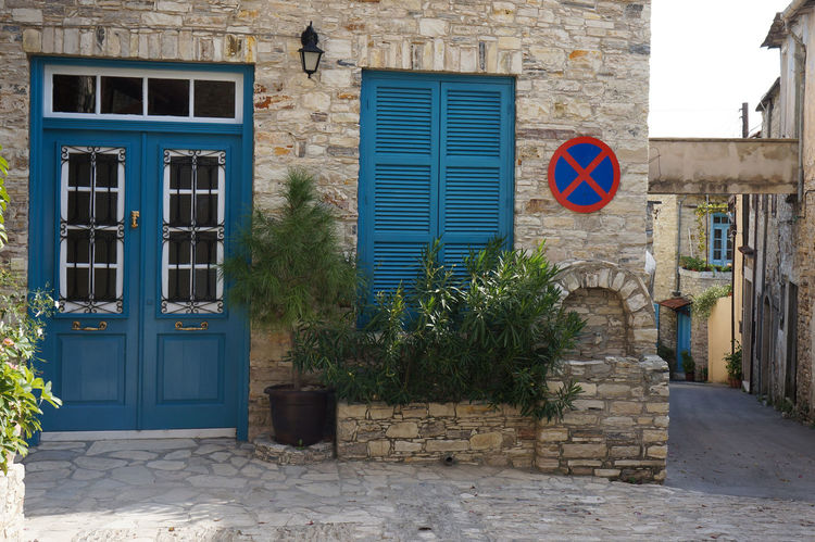 Architecture Blue Building Exterior Charming Charming Houses Cyprus Door House Lefkara No Parking Sign No People Old Plant Shutters Stonewall Street Traditional Village Window