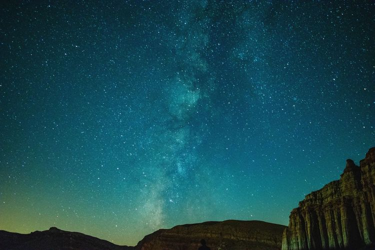 Scenic View Of Milky Way Over Mountains