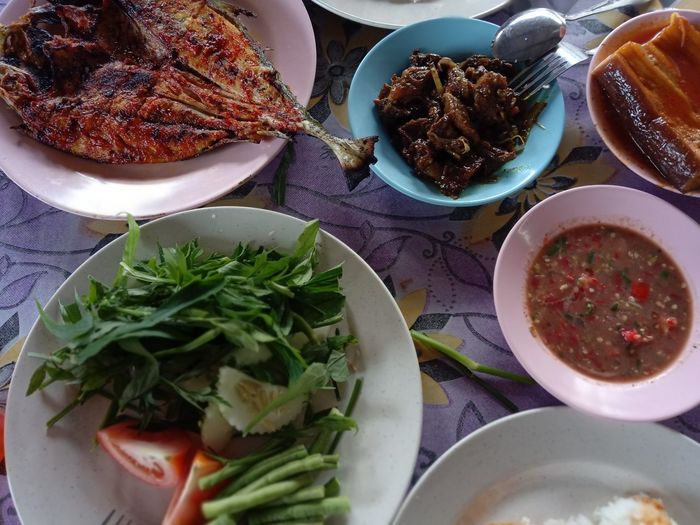Malay Style Food Spicy Seafood Close-up Directly Above Ethnic Food Food Food And Drink Grilled Grilled Seafood Healthy Eating High Angle View Meat Plate Ready-to-eat Salad Serving Size Table Vegetable Wellbeing
