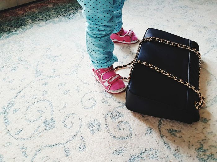 Low Section Human Leg Fashion EyeEmNewHere The Week On EyeEm Lifestyle Toddler  Child Baby Feet Pink Socks Pink Sandals Kids Domestic Life Home Baby Playing Fashionista Fashionable Fashion Baby Girl Baby Black Purse Purse Hand Bag Mix Yourself A Good Time