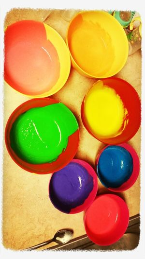 This is the dough for my daughter's 1st birthday cake. Rainbow! Baking A Cake First Eyeem Photo