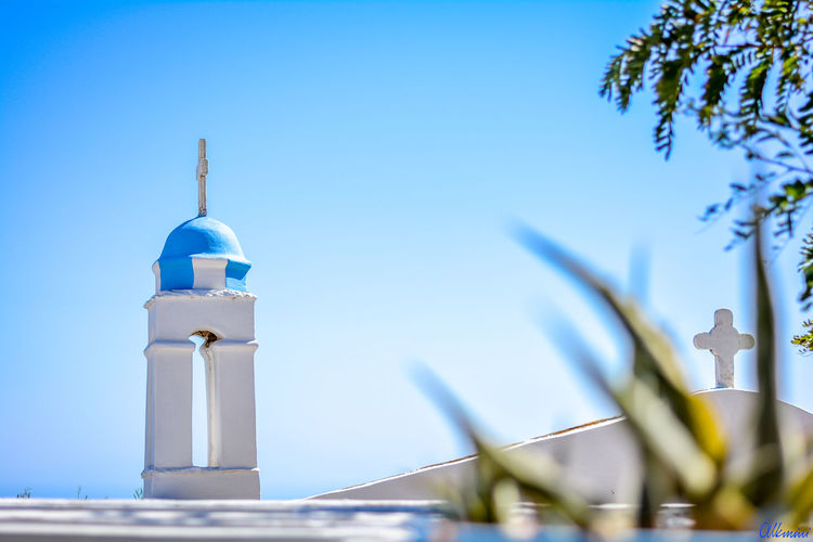 Taste of greece EyeEmNewHere Blue Greece Church Sky No People Holidays White Background Plant Outdoor EyeEmNewHere Architecture Travel Sunlight Sunny Religion Building Exterior Selective Focus Built Structure Clear Sky Day Nature