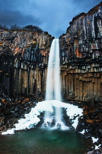 Basaltic waterfall Water Waterfall Power In Nature Motion Cliff Long Exposure Dam Spraying