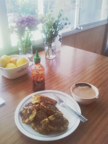 Spicy french toast made from home made bread & homegrown chili & parsley. Brunch Sriracha Domesticanimal