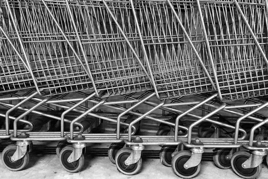 Shopping Cart Trolley Metal Supermarket Store In A Row Luggage Cart  Consumerism No People Indoors  Minimalism Minimalobsession Minimal Retail  Close-up