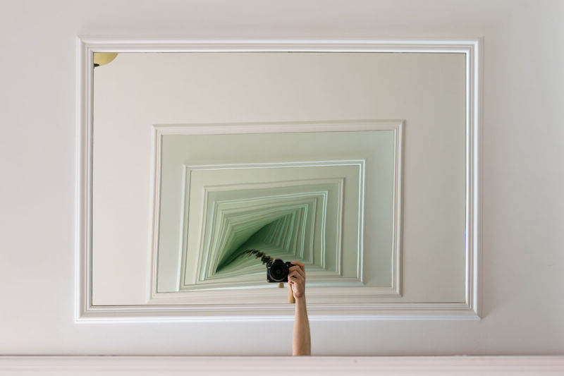 Arm Autoportrait Camera Creative Deception Distorted Fade To Green Frames Hand Inception Infinity Lamp Mirror Mirrors Rectangles