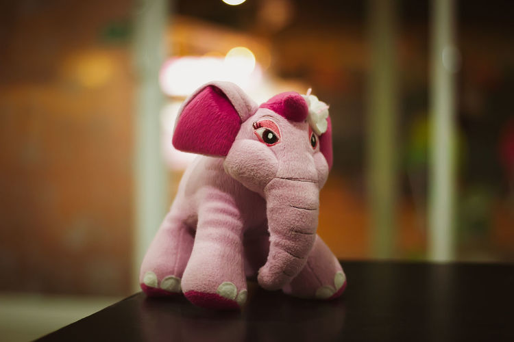 Animal Art And Craft Close-up Creativity Elephant Elephant Toy Focus On Foreground Indoors  Mammal No People Pink Color Stuffed Toy Table Toy Toy Animal