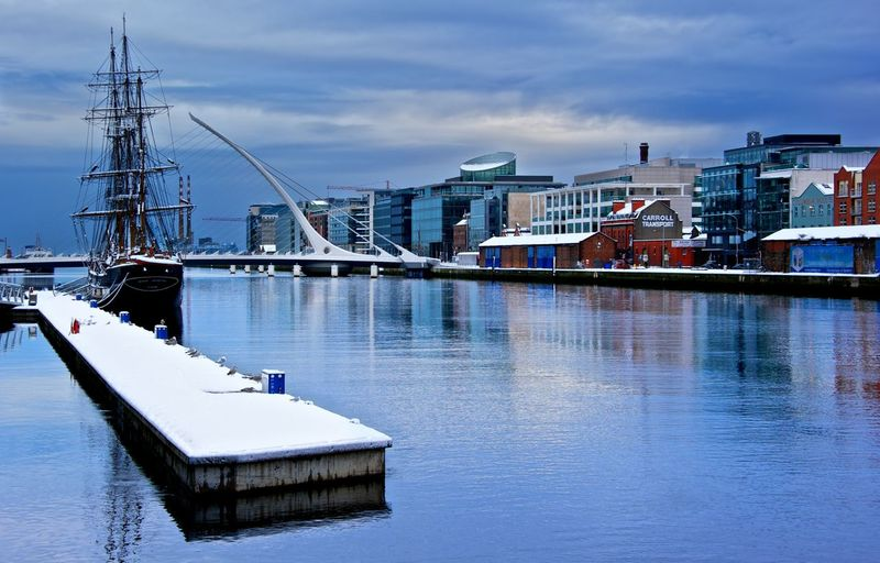 Winter in Dublin Architecture Blue Boat Building Exterior Built Structure Cloud Cloud - Sky Harbor Moored Nautical Vessel No People Outdoors Reflection River Sea Sky Transportation Water Waterfront