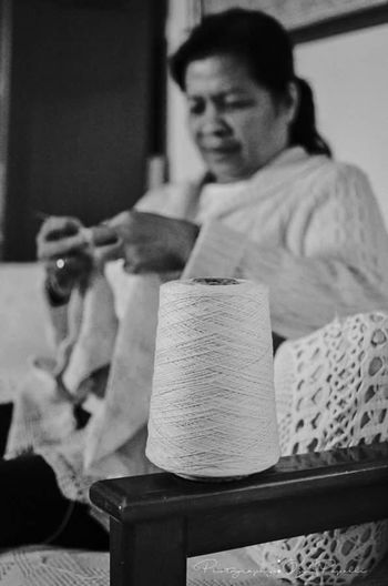 Crochetaddict Sitting Indoors  Living Room Cyprus Portrait Of A Woman Filipina