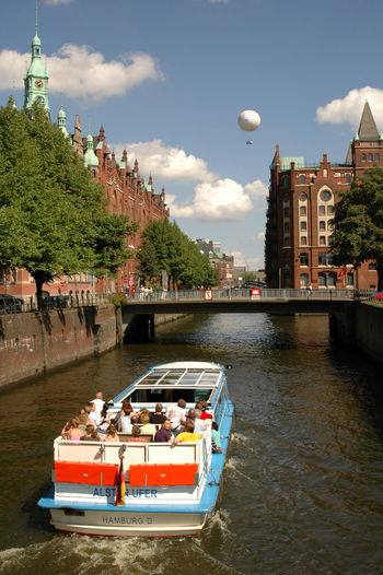 Ballons Boattrip Hamburg Hamburg Speicherstadt Hamburg Attraction Tourist Attraction  Blue Sky And White Clouds Boat Building Exterior Excursion Tips Excursions Tips In Hamburg Nautical Vessel Outdoors River Transportation Water Waterfront