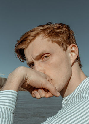 Myroslav #22 The result of a spontaneous hour-long shoot during the first meeting with the person, Doubt Editorial Fashion Redhead The Week on EyeEm TheWeekOnEyeEM Thinking Close-up Doubtful Editorial  Emotion Fashion Editorial Hairstyle Leisure Activity Lifestyles Portrait Real People Redhair Redhead Striped Young Adult The Fashion Photographer - 2018 EyeEm Awards The Portraitist - 2018 EyeEm Awards