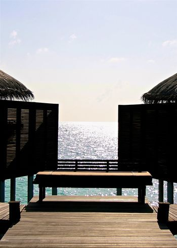 Afternoon Amazing Architecture Beauty In Nature Blue Bridge - Man Made Structure Brown EyeEm Best Shots Hello World Horizon Over Water Light And Shadow Maldives Ocean Railing Reflection Sea Sky Taking Photos Thatched Roof The Way Forward Travel Vacations Water Watervillage Wooden