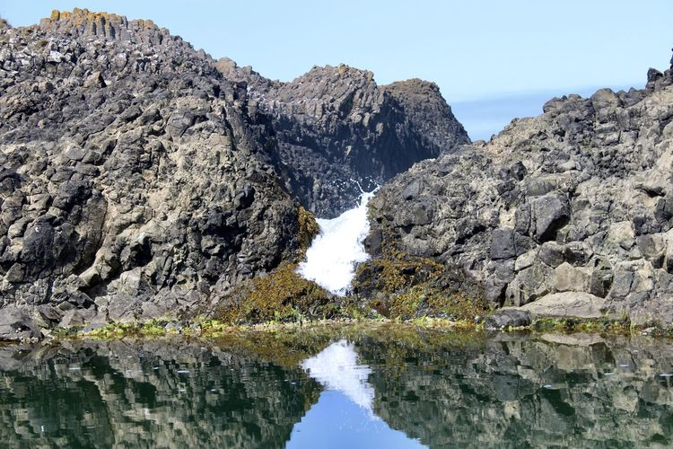 Reflection of rocks in lake against clear sky