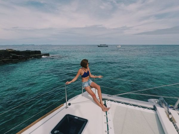 Yachting Yacht Women Summer Real People People Outdoors One Person Nature Lifestyles Leisure Activity Beauty In Nature Beach Vacations Traveling Ocean View Young Women Young Adult Sky Sea Scenics Horizon Over Water Summertime Woman In Bikini Bikini EyeEmNewHere