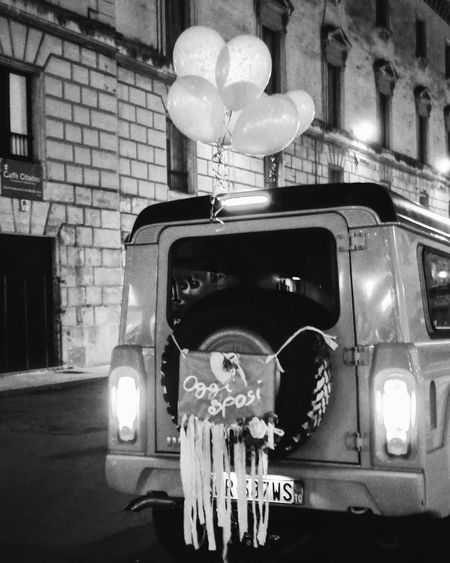 Justmarried on Transportation Low Angle View Architecturephotography Leccecomelacantoio Lecce Lecce B/w Lecce By Night Lecceweddingshow Wedding Wedding Photography Weddingphotography Bnw Jeep Love Romantic Blackandwhite Bnw_collection Bnw_captures Streetphotography Streetphoto_bw Streetphotography_bw Bnwmood Bnwphotography No People