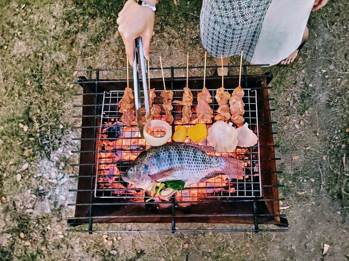 High angle view of person on barbecue grill