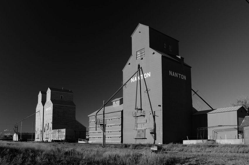 Blackandwhite Bnw Elevator Farm Life Grain Elevator Heritage Monochrome Nanton Nanton, Alberta Prairie Prairie Scenes Prairie Sentinel Railway Rural Scene