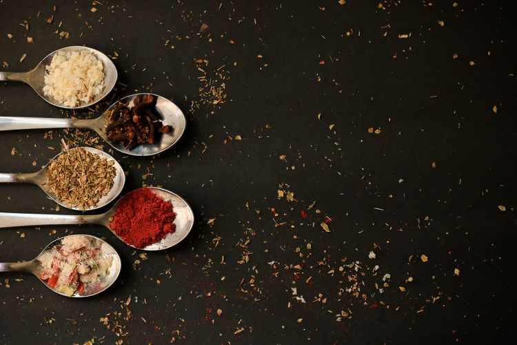 High angle view of spice on table