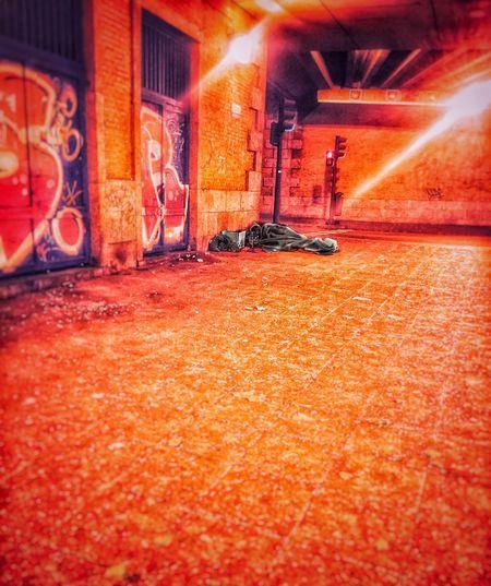 """""""Pregunté por Cristo y noté que se burlaban porque nadie lo había visto"""" Underground SPAIN Madrid Decadence NoHope Architecture Red Illuminated Built Structure Building Exterior Street City Night"""