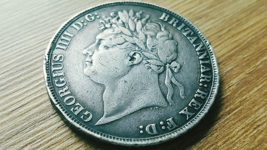 Coin Close-up No People Currency Savings Industrial Revolution History Table Coins England🇬🇧 LONDON❤ England 🇬🇧 England 🌹 Crown England, UK King George IV King Indoors  Coin