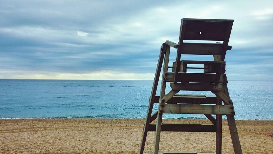 Lifeguard chair at beach