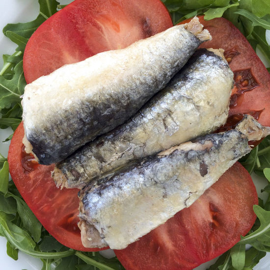 Sardines and tomato slices on a bed of Rocket salad leaves Close-up Fish Food Food And Drink Freshness Healthy Eating Healthy Food Healthy Lifestyle Leaves Omega 3 Omega 3 Fatty Acids Omega 3 Oils Organic Plate Ready-to-eat Rocket Salad Sardine Sardines Sea Food Still Life Tomato Tomatoes