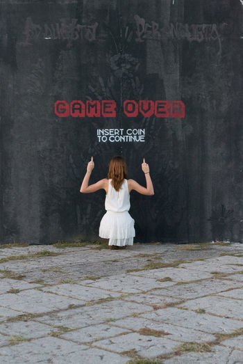 Art Communication Day Game Over Graffiti Outdoors Person Red Text