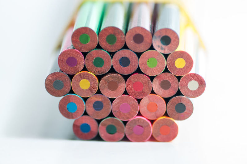 High angle view of multi colored pencils on table