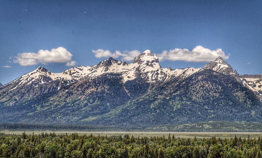 The Grand Tetons Scenics - Nature Beauty In Nature Sky Mountain Cloud - Sky Tranquil Scene Snow Nature Environment Cold Temperature Winter No People Tranquility Landscape Idyllic Mountain Peak Mountain Range Plant Snowcapped Mountain Day
