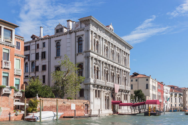 Buildings along canal in venice