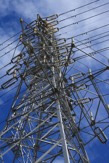 Transmission Line Tower Transmission Tower Cool Japan Sky Power Line  Electrical Equipment Technology Low Angle View Electricity