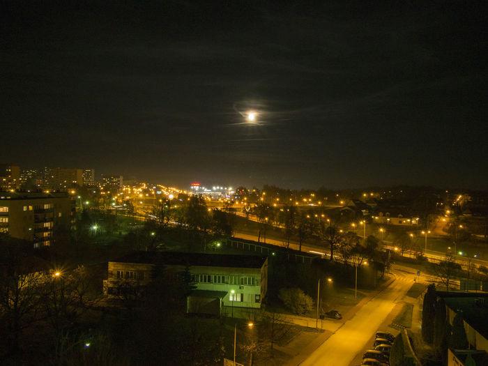 Kielce-Poland Moon City Cityscape Illuminated Night Silence In The City Sky