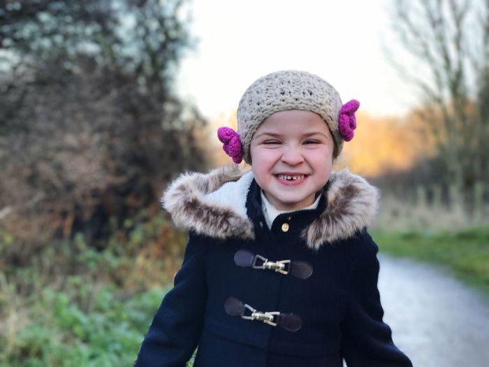 Portrait of funny girl smiling