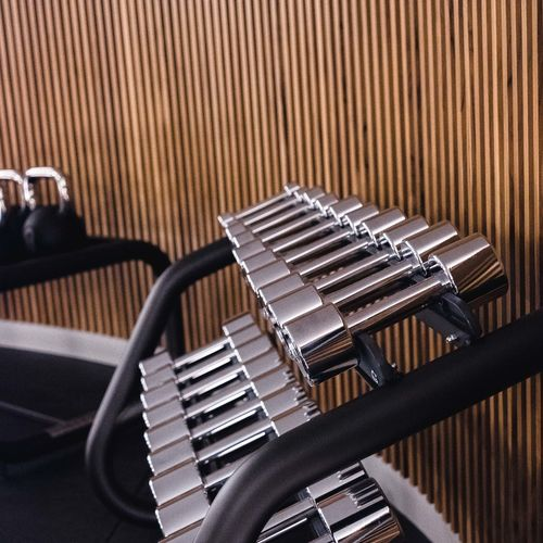 Close-up Indoors  Metal No People Technology Pattern High Angle View Equipment Industry Cable Focus On Foreground Still Life Connection Arts Culture And Entertainment Silver Colored Machine Part Machinery Table Microphone Music Gym Gym Equipment Dumbbell Training Sport