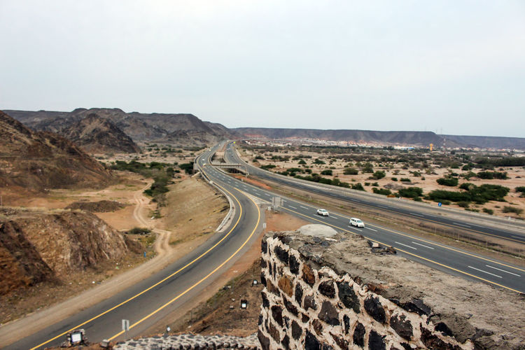 High angle view of road passing through a desert