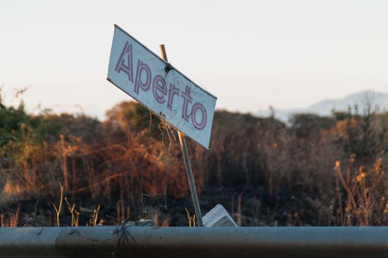Information sign on landscape