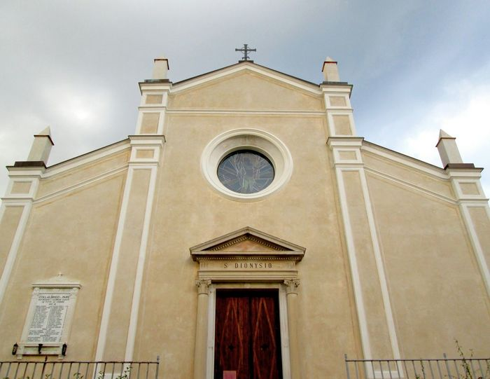 Italy Church Facades Creamy And Blue Columns And Pillars Tympanum Gable Rose Window Religious Architecture Front