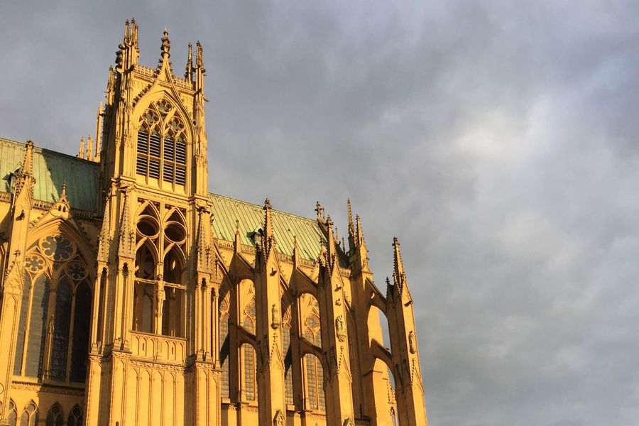 Cathedral France Frankreich Sun Shaddow Grey Clouds