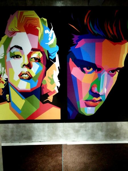 Marilyn Monroe vs Elvis Presley Multi Colored Human Representation Close-up Day Outdoors Marilyn Monroe Elvispresley Colourful ArtWork Art No People